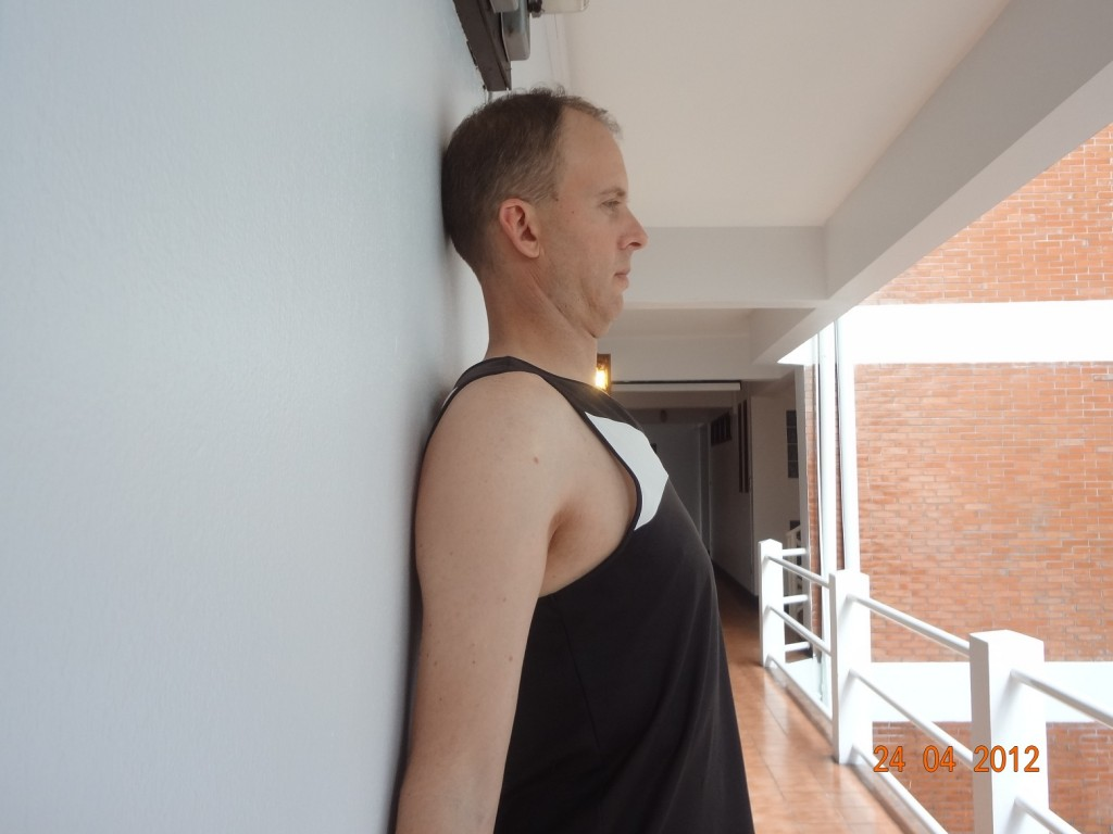 Over time this chin tucking exercise will address the muscle imbalance in the neck